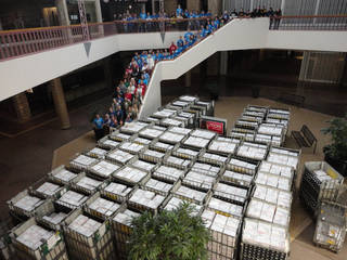 More than 5,000 care packages were sent by The Hugs Project in December to military personnel serving in the Middle East. The send-off was at Crossroads Mall. Photo provided by The Hugs Project