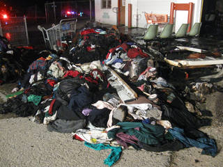 Clothing and other items damaged in fires at the Jesus House warehouse, 1401 W Sheridan Ave., on Tuesday night. MATT DINGER - THE OKLAHOMAN