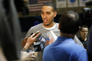 Oklahoma City's Kevin Martin talks with the media before a Thunder practice at Rice University in Houston, Texas, Sunday., April 28, 2013. Photo by Bryan Terry, The Oklahoman
