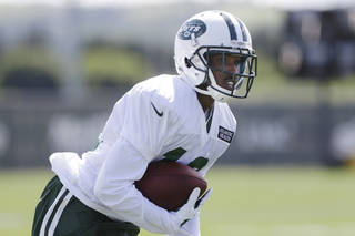 New York Jets wide receiver Jalen Saunders (16) runs during the Jets NFL football training camp Thursday, July 24, 2014, in Cortland. Frank Franklin II - AP