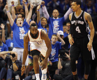 Oklahoma City's James Harden (13) celebrates a 3-point shot near San Antonio's Danny Green (4) in the first half during Game 3 of the Western Conference Finals between the Oklahoma City Thunder and the San Antonio Spurs in the NBA playoffs at the Chesapeake Energy Arena in Oklahoma City, Thursday, May 31, 2012. Photo by Nate Billings, The Oklahoman