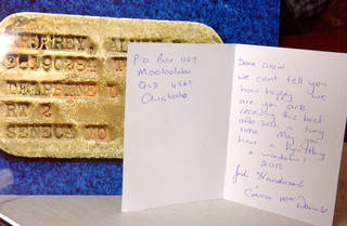 Alvin Krumrey received this card, photo and the dog tag from Australia.