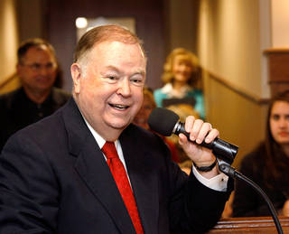 DEDICATE / DEDICATION: OU President David Boren speaks during dedication ceremony. The University Of Oklahoma's Jeannine Rainbolt College of Education is formally dedicated in a ceremony Monday afternoon, Dec. 6, 2010, on the university campus. The building underwent extensive remodeling and was reopened for classes this fall. to expand the facility was launched in 2006. The college is named for the late Jeannine Rainbolt, an OU education alumna. With the renaming of the building, it marks the first time in OU's history for a college to be named for a woman. Her husband, Gene Rainbolt, attended the ceremonmy and participated with OU President David Boren in the ribbon-cutting ceremony. Photo by Jim Beckel, The Oklahoman ORG XMIT: KOD