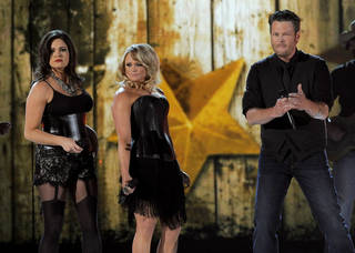From left, Angaleena Presley and Miranda Lambert of musical group Pistol Annies, and singer Blake Shelton perform at the 48th Annual Academy of Country Music Awards at the MGM Grand Garden Arena in Las Vegas on Sunday, April 7, 2013. (Photo by Chris Pizzello/Invision/AP) Chris Pizzello - Chris Pizzello/Invision/AP