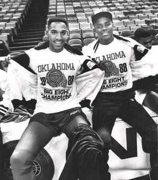Stacey King, left, and Harvey Grant were members of the Sooners basketball team that won the Big Eight and fell just short of the national championship in 1988. Photo from The Oklahoman Archives.