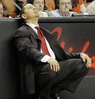 OU head coach Jeff Capel reacts after an OU turnover during the second half of the Bedlam men's college basketball game between the University of Oklahoma Sooners and Oklahoma State University Cowboys at Gallagher-Iba Arena in Stillwater, Okla., Saturday, February 13, 2010. OSU beat OU, 97-76. Photo by Nate Billings, The Oklahoman