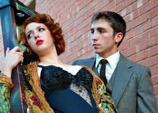 """Rachael Barry as Sally Bowles and Haulston Mann as Cliff in """"Cabaret."""" Photo by Erin Woods."""
