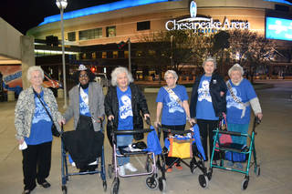 Residents of The Wellington of OKC who attended a Thunder game at the invitation of Kendrick Perkins were, from left, Clara Bryan, Marilyn Pope, Gloria Baker, Doris Sutton, Betty Collins and Helen O'Neal. The women were contestants and winners in the Ms. Wellington Pageant. PHOTO PROVIDED