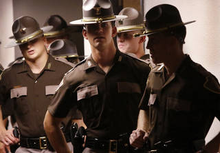 A few of the 40 new state troopers commissioned in July. Of the 768 troopers on the current roster, 210 are eligible to retire immediately. The Oklahoman archives
