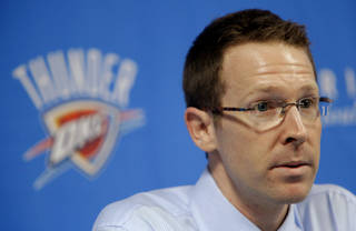 Thunder general manager Sam Presti speaks during a press conference on Thursday. PHOTO BY BRYAN TERRY, THE OKLAHOMAN