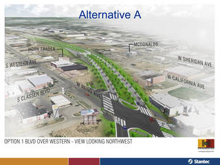 This view shows consultants' recommended design of the western section of the future Oklahoma City Boulevard, shown here in a drawing looking west. The boulevard would be raised over Western Avenue, but at-grade by Reno Avenue to the east. PROVIDED - City of Oklahoma City