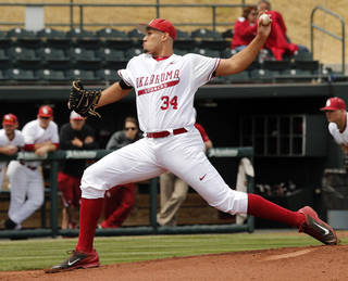 Starting pitcher Adam Choplick throws in the first inning as the University of Oklahoma Sooner (OU) baseball team plays the CSU Bakersfield Roadrunners in college baseball at L. Dale Mitchell Park on April 5, 2014 in Norman, Okla. Photo by Steve Sisney, The Oklahoman