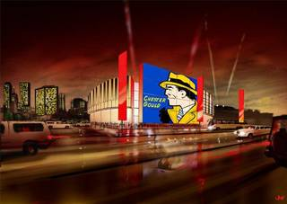 The Oklahoma Historical Society is planning to establish the Oklahoma Museum of Music and Popular Culture in Tulsa's Brady Arts District and is in talks with Bank of Oklahoma to acquire land for the project. The museum, nicknamed the OK Pop, would feature large exterior LED screens. This configuration represents a possible Dick Tracy exhibit; the historical society has been working with the family of the late Chester Gould, the Pawnee-born cartoonist that created Dick Tracy. Photo provided
