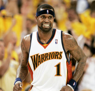 Stephen Jackson and the 2007 Golden State Warriors are one of only three No. 8 seeds to defeat a No. 1 seed in the first round. AP photo