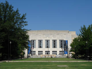 The lawn and some of the older oak trees in front of the Civic Center Music Hall date to the 1937 original landscaping plan for the building. All the trees, some of the oldest and biggest trees downtown, would be destroyed, and the monuments would be placed in storage for future placement as part of a redesign being pushed by architect Rand Elliott and Tulsa-based PDG Inc. Photo by Steve Lackmeyer, The Oklahoman