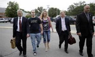 Baby Veronica's biological father, Dusten Brown (left) enters Cherokee County District Court on Friday morning with his wife, Robin Brown(right). MIKE SIMONS/Tulsa World
