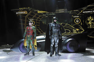 "Left: Batman and Robin are shown in front of the on the set of ""Batman Live"" on Wednesday at the Chesapeake Energy Arena. Photo by Kyle Roberts, The Oklahoman"