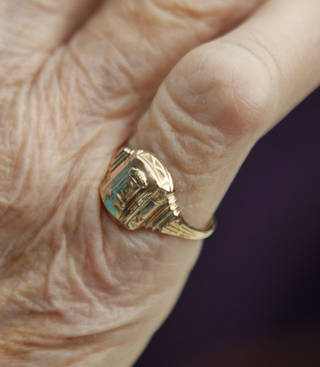 Lodema Clement, 85, who lost her Chickasha High School class ring in 1948, got it back Monday at Chickasha High School. City of Stillwater utilities workers Don Bishop and Charlie Yeats found the ring while doing maintenance on the sewer lines. PHOTO BY PAUL HELLSTERN, THE OKLAHOMAN PAUL HELLSTERN - Oklahoman