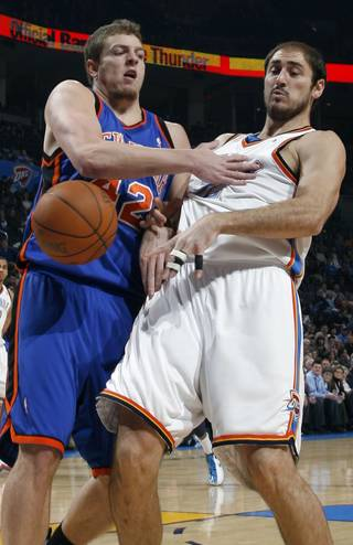 New York's David Lee (42) collides with Thunder center Nenad Krstic during Oklahoma City's 106-88 win Monday. PHOTO BY NATE BILLINGS, THE OKLAHOMAN