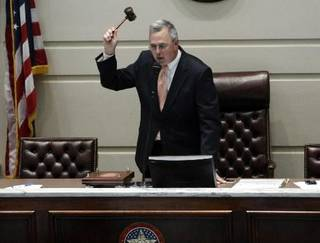 Sen. Brian Bingman, R-Sapulpa closes the Oklahoma Senate during the last day of the legislative session at the state Capitol in Oklahoma City, Friday, May 25, 2012. Photo by Sarah Phipps