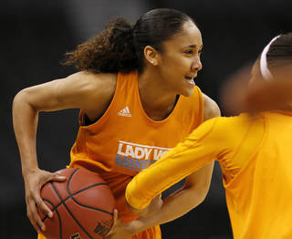 Tennessee's Meighan Simmons (10) runs through a drill during the press conference and practice day at the Oklahoma City Regional for the NCAA women's college basketball tournament at Chesapeake Arena in Oklahoma City, Saturday, March 30, 2013. Photo by Nate Billings, The Oklahoman