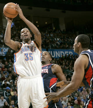 Oklahoma City's Kevin Durant puts up a shot against Atlanta during their NBA basketball game at the OKC Arena in Oklahoma City on Friday, Dec. 31, 2010. Photo by John Clanton, The Oklahoman