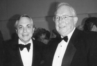 Provided e-mail Black and White photo of Max Weitzenhoffer (left) and Buddy Leake. Weitzenhoffer is the new president of the Oklahoma Chapter of the National Football Foundation and College Hall of Fame. Leake is the outgoing president.