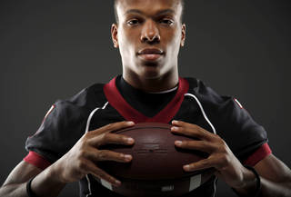 All-State football player Kevin Peterson, of Wagoner, poses for a photo in Oklahoma CIty, Wednesday, Dec. 14, 2011. Photo by Bryan Terry, The Oklahoman