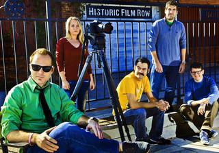 "Director Kyle Roberts, left, poses for a photo with make-up artist Jenny Hausam, production assistant Jason Oser, editor Hal Gatewood, and writer/actor Lucas Ross, from left, in Oklahoma City's historic film row. All members of this group participated in the episode of ""Viral Video Showdown"" featuring Kyle Roberts and his team, Reckless Abandonment Pictures. PHOTO BY CHRIS LANDSBERGER, THE OKLAHOMAN CHRIS LANDSBERGER"