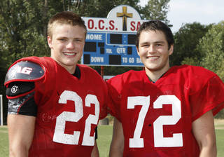 Oklahoma Christian School linemen Christian Aduddell (left) and Cole Hatchell are starting offensive linemen who play side by side at the school in Edmond, OK, Tuesday, August 14, 2012. Hatchell is a cancer survivor and Aduddell is diabetic. By Paul Hellstern, The Oklahoman