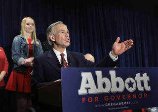 FILE - In this March 4, 2014, file photo, Texas Attorney General Greg Abbott talks to supporters during his victory party in San Antonio. He won the Republican nomination for Texas governor. On Wednesday, March 5, 2014, the state of Texas emerged from the nation's first primary of 2014 looking solidly Republican as ever. Now the Texas governor's race really begins _ and Democrat gubernatorial candidate Wendy Davis insists that, yes, it'll be a race. (AP Photo/Eric Gay, File)