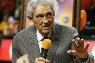 """Legendary Oklahoma State coach Eddie Sutton was honored at half time of an NCAA college basketball game between Oklahoma State University (OSU) and Iowa State at Gallagher-Iba Arena in Stillwater, Okla., Monday, Feb. 3, 2014. The event was proclaimed """"Eddie Sutton Night"""" in honor of Sutton's years of coaching the Cowboys. Photo by KT King, The Oklahoman"""