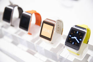 Samsung recently unveiled its Galaxy Gear smart watch in different colors. AP PHOTO Gero Breloer