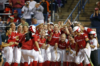 during Women's College World Series softball game at ASA Hall of Fame Stadium in Oklahoma City, Sunday, June, 2, 2013. Photo by Sarah Phipps, The Oklahoman Download