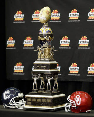 The Fiesta Bowl trophy. AP PHOTO