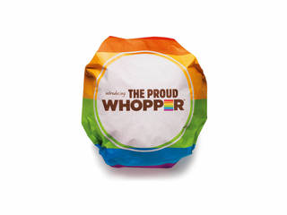 """This undated image provided by Burger King shows the Proud Whopper. Once opened up, a message inside the wrapper states, """"We are all the same inside."""" AP Photo -"""