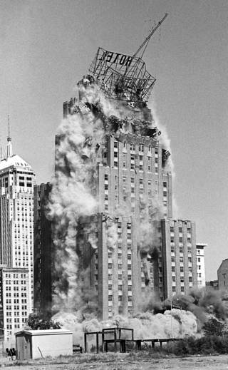 The 26 story Biltmore Hotel, built in 1932, was demolished on Oct. 16, 1977. At the time it was the tallest steel-reinforced building in the world ever demolished with explosives. Nine hundred explosive charges were used in the building to bring it down. Photo by PAUL B. SOUTHERLAND, the oklahoman archive