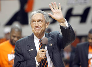 Former OSU coach Eddie Sutton speaks at halftime of Wednesday's game. Photo by Sarah Phipps, The Oklahoman