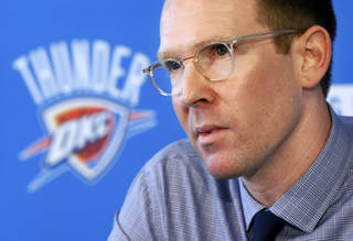 Thunder general manager Sam Presti speaks to the media during his preseason availability at the Integris Health Thunder Development Center, 9600 N. Oklahoma Ave., in Oklahoma City, Wednesday, Sept. 25, 2013. Photo by Nate Billings, The Oklahoman