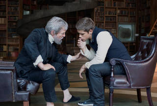 """This image released by The Weinstein Co. shows Jeff Bridges, left, and Brenton Thwaites in a scene from """"The Giver."""" AP Photo - AP"""
