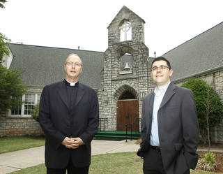 In this 2010 photo, the Rev. Richard Stansberry and the Rev. Tim Blodgett stand in front of Greystone Presbyterian Church in Nichols Hills. The former Greystone building was recently torn down to make way for expansion of neighboring Catholic school. PAUL HELLSTERN