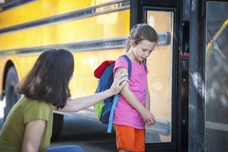Separation anxiety is common in school-age children. It is characterized by persistent or excessive worry about separating from a child's primary caregiver. (Brian McEntire, ©istockphoto.com/bmcent1)