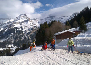 Sledging is a family affair in the Swiss village of Villars. Photo courtesy of Athena Lucero.