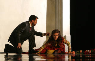 "Asteria (Sarah Coburn) recoils from the tyrannical Tamerlano (David Daniels) in Washington National Opera's production of Handel's ""Tamerlano."" Photo by Karin Cooper for Washington National Opera"
