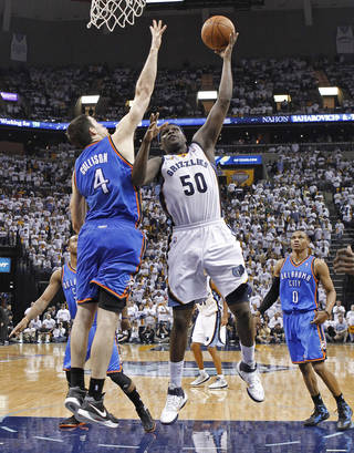 Memphis Grizzlies forward Zach Randolph (50) shoots against Oklahoma City Thunder forward Nick Collison (4) during the second half of Game 6 of a second-round NBA basketball playoff series on Friday, May 13, 2011, in Memphis, Tenn. Randolph led the Grizzlies with 30 points as they won 95-83 to even the series 3-3. (AP Photo/Lance Murphey)