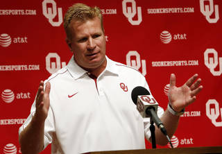 OU COLLEGE FOOTBALL: Defensive Coordinator Mike Stoops speaks with the media during the Meet the Sooners event at the University of Oklahoma on Saturday, Aug. 4, 2012, in Norman, Okla. Photo by Steve Sisney, The Oklahoman