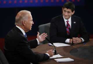 Vice President Joe Biden and Republican vice presidential nominee Paul Ryan of Wisconsin participate in the vice presidential debate at Centre College, Thursday, Oct. 11, 2012, in Danville, Ky. (AP Photo/Pool-Rick Wilking)