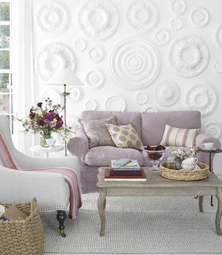 Here is a creative way to use ceiling medallions on a focal wall. Photo from Pinterest. Miki Duisterhof