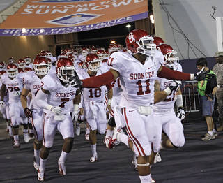 The Sooners take to the field during the college football game between the University of Oklahoma Sooners (OU) and the University of Texas El Paso Miners (UTEP) at Sun Bowl Stadium on Saturday, Sept. 1, 2012, in El Paso, Texas. Photo by Chris Landsberger, The Oklahoman