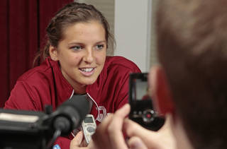 WOMEN'S COLLEGE BASKETBALL: Morgan Hook talks with reporters at the University of Oklahoma (OU) women's basketball Media Day inside the Lloyd Noble Center on Thursday, Oct. 27, 2011, in Norman, Okla. Photo by Steve Sisney, The Oklahoman ORG XMIT: KOD